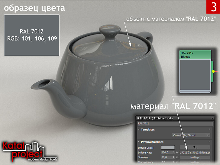 3ds Max 2020 › Render › Gamma — 2.2 › Diffuse Color — Bitmap (Color — RGB: 101, 106, 109; Gamma — Automatic (Recommended)) vs RAL 7012
