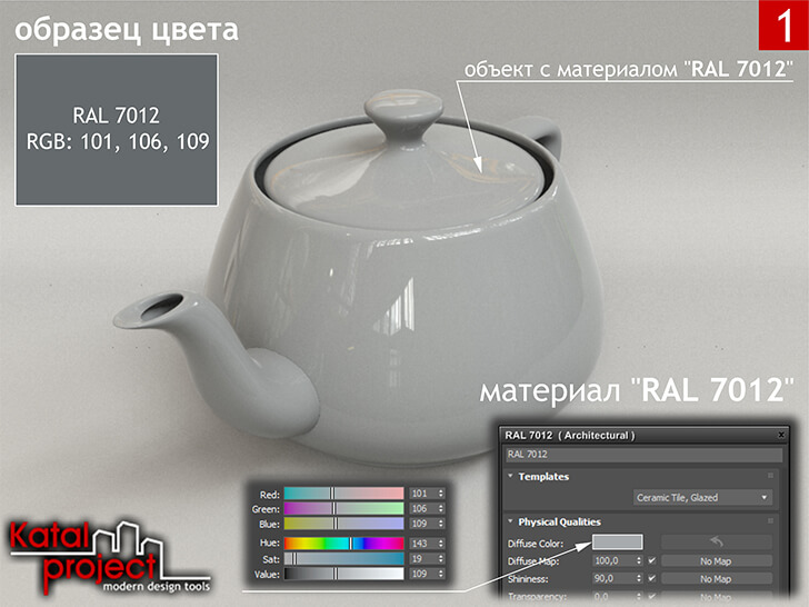 3ds Max 2020 › Render › Gamma — 2.2 › Diffuse Color — RGB: 101, 106, 109 vs RAL 7012