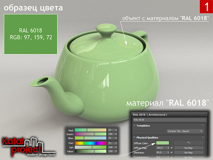 3ds Max 2020 › Render › Gamma — 2.2 › Diffuse Color — RGB: 97, 159, 72 vs RAL 6018