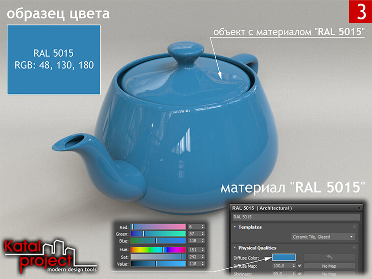 3ds Max 2020 › Render › Gamma — 2.2 › Diffuse Color — RGB: 6, 57, 118 vs RAL 5015