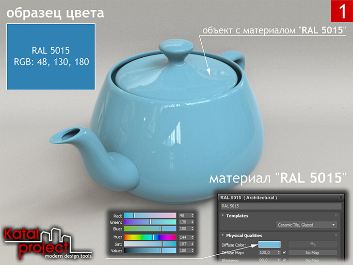 3ds Max 2020 › Render › Gamma — 2.2 › Diffuse Color — RGB: 48, 130, 180 vs RAL 5015