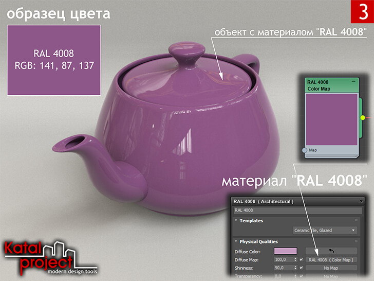 3ds Max 2020 › Render › Gamma — 2.2 › Diffuse Color — Color Map (Solid Color — RGB: 0.553, 0.341, 0.537; Gamma — 2.2) vs RAL 4008