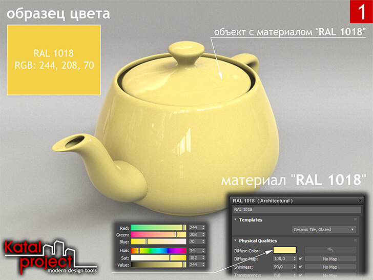 3ds Max 2020 › Render › Gamma — 2.2 › Diffuse Color — RGB: 244, 208, 70 vs RAL 1018