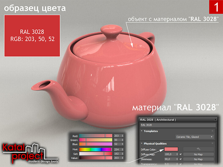 3ds Max 2020 › Render › Gamma — 2.2 › Diffuse Color — RGB: 203, 50, 52 vs RAL 3028